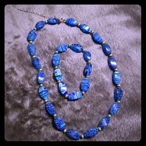 Blue necklace and bracelet